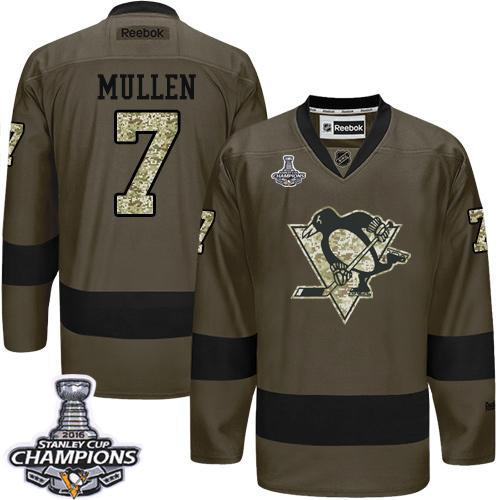 Penguins #7 Joe Mullen Green Salute to Service 2016 Stanley Cup Champions Stitched NHL Jersey
