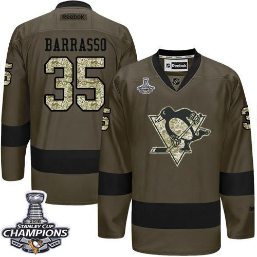 Penguins #35 Tom Barrasso Green Salute to Service 2016 Stanley Cup Champions Stitched NHL Jersey