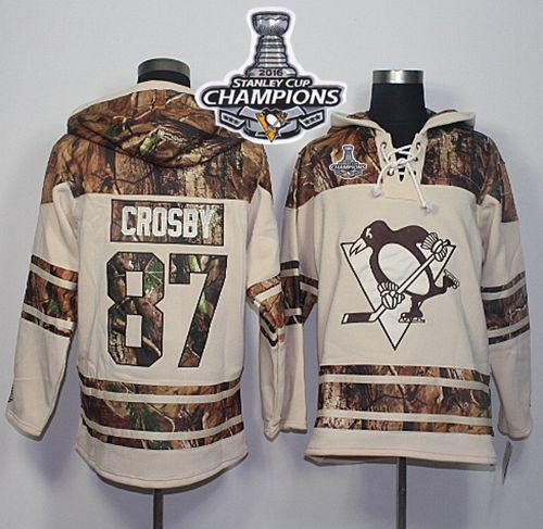 Penguins #87 Sidney Crosby Cream/Camo 2016 Stanley Cup Champions Stitched NHL Jersey