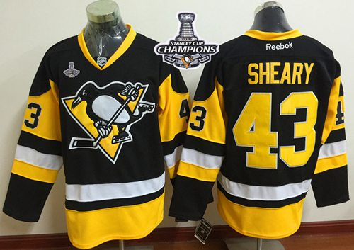 Penguins #43 Conor Sheary Black Alternate 2016 Stanley Cup Champions Stitched NHL Jersey