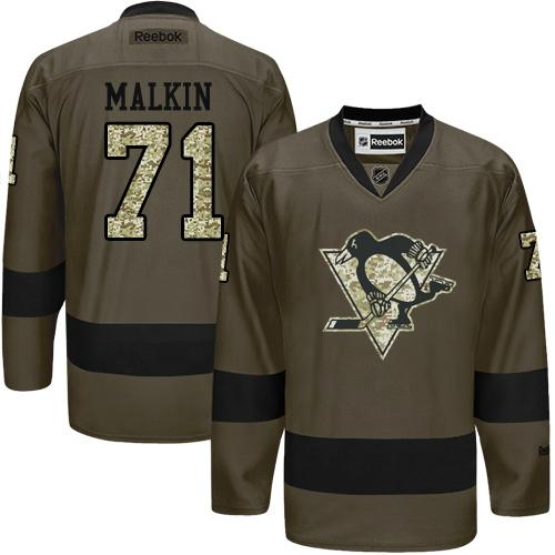 Penguins #71 Evgeni Malkin Green Salute to Service Stitched NHL Jersey