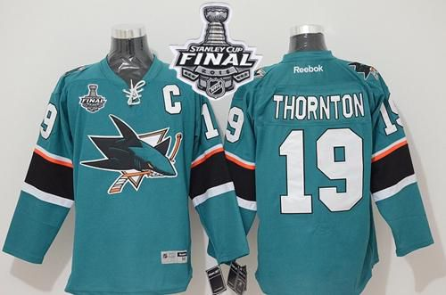 Sharks #19 Joe Thornton Teal 2016 Stanley Cup Final Patch Stitched NHL Jersey