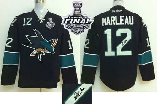 Sharks #12 Patrick Marleau Black Autographed 2016 Stanley Cup Final Patch Stitched NHL Jersey