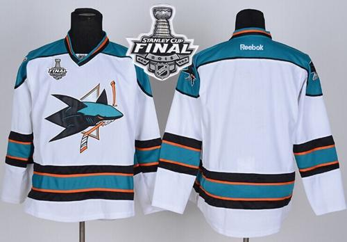 Sharks Blank White 2016 Stanley Cup Final Patch Stitched NHL Jersey