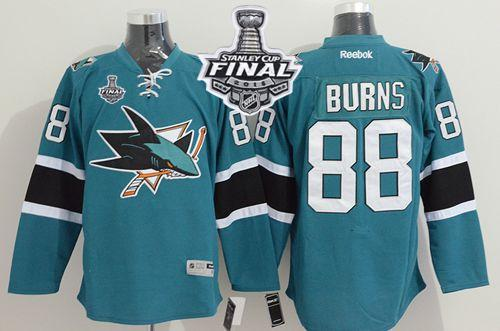 Sharks #88 Brent Burns Teal 2016 Stanley Cup Final Patch Stitched NHL Jersey