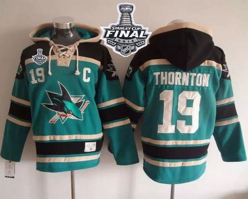Sharks #19 Joe Thornton Teal Sawyer Hooded Sweatshirt 2016 Stanley Cup Final Patch Stitched NHL Jersey