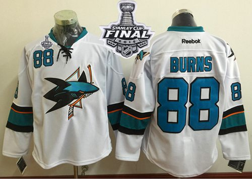 Sharks #88 Brent Burns White 2016 Stanley Cup Final Patch Stitched NHL Jersey