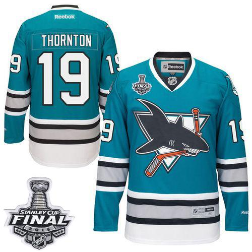 Sharks #19 Joe Thornton Teal 25th Anniversary 2016 Stanley Cup Final Patch Stitched NHL Jersey