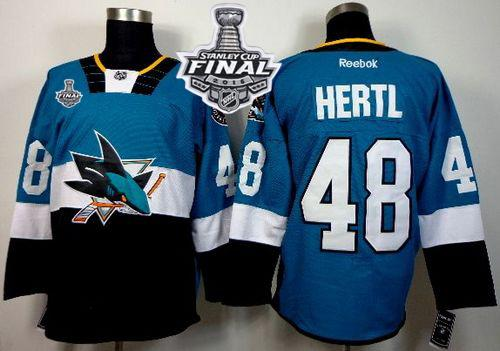 Sharks #48 Tomas Hertl Teal/Black 2015 Stadium Series 2016 Stanley Cup Final Patch Stitched NHL Jersey