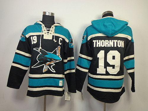 Sharks #19 Joe Thornton Black Sawyer Hooded Sweatshirt Stitched NHL Jersey