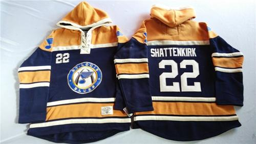 Blues #22 Kevin Shattenkirk Navy Blue/Gold Sawyer Hooded Sweatshirt Stitched NHL Jersey
