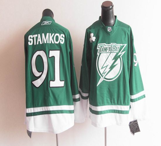 Lightning St Patty's Day #91 Steven Stamkos Green Stitched NHL Jersey