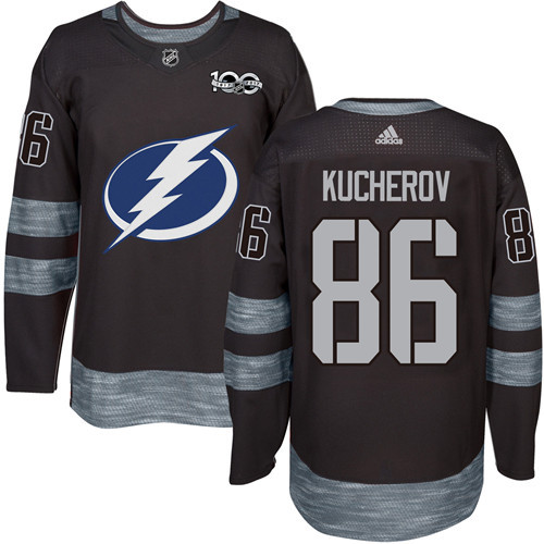 Lightning #86 Nikita Kucherov Black 1917-2017 100th Anniversary Stitched NHL Jersey