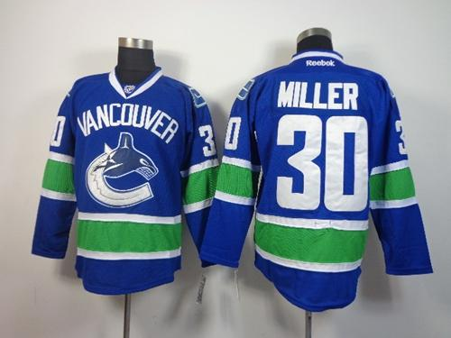 Canucks #30 Ryan Miller Blue Stitched NHL Jersey