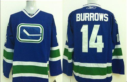 Canucks #14 Alexandre Burrows Stitched Blue Third NHL Jersey