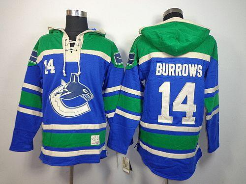 Canucks #14 Alex Burrows Blue Sawyer Hooded Sweatshirt Stitched NHL Jersey