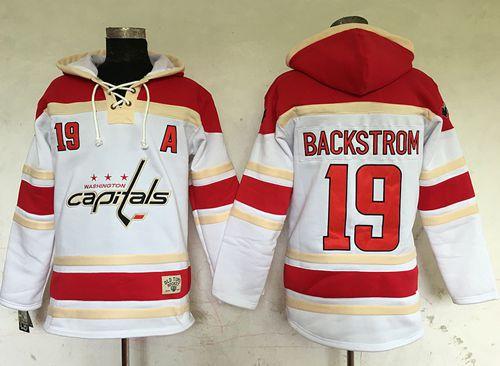 Capitals #19 Nicklas Backstrom White Sawyer Hooded Sweatshirt Stitched NHL Jersey