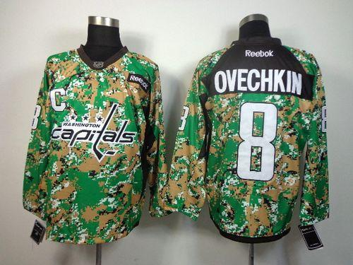 Capitals #8 Alex Ovechkin Camo Veterans Day Practice Stitched NHL Jersey