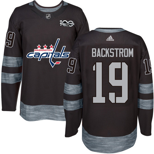 Capitals #19 Nicklas Backstrom Black 1917-2017 100th Anniversary Stitched NHL Jersey