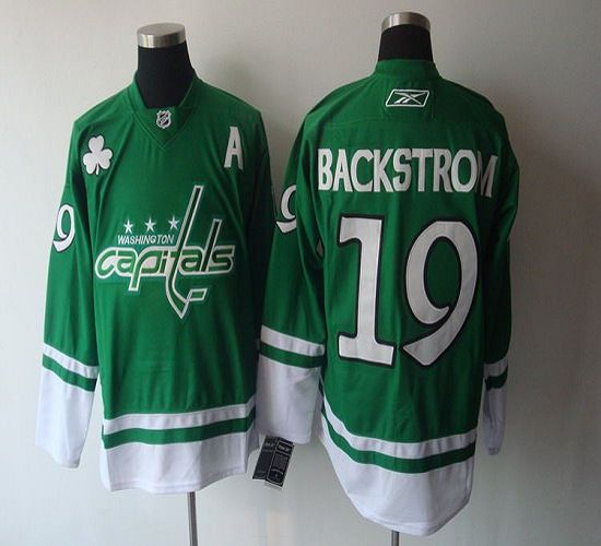 Capitals #19 Nicklas Backstrom Green St. Patty's Day Stitched NHL Jersey