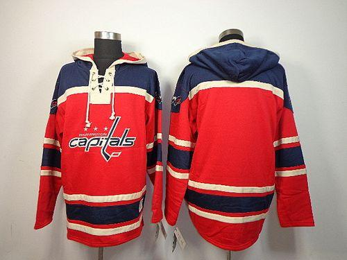 Capitals Blank Red Sawyer Hooded Sweatshirt Stitched NHL Jersey