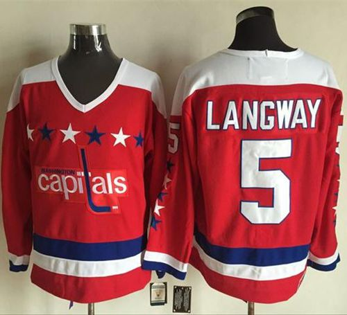 Capitals #5 Rod Langway Red Alternate CCM Throwback Stitched NHL Jersey