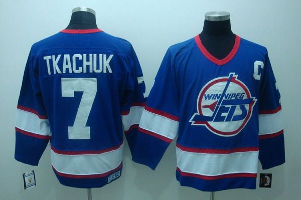 Jets #7 Keith Tkachuk Stitched Blue CCM Throwback NHL Jersey