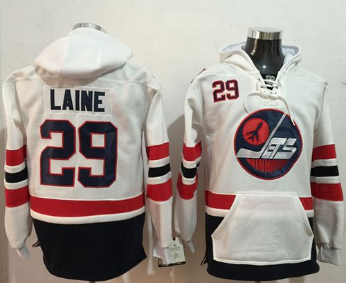 Jets #29 Patrik Laine White Name & Number Pullover NHL Hoodie
