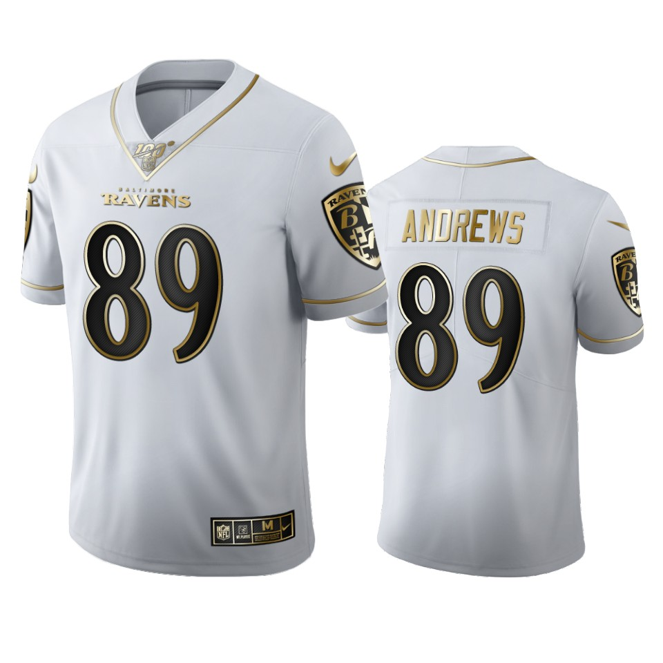 Baltimore Ravens #89 Mark Andrews Men's Nike White Golden Edition Vapor Limited NFL 100 Jersey