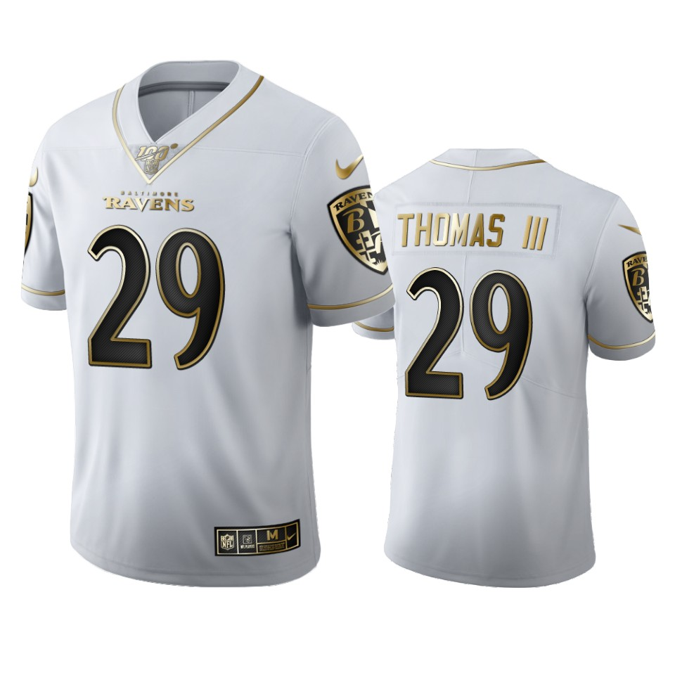 Baltimore Ravens #29 Earl Thomas III Men's Nike White Golden Edition Vapor Limited NFL 100 Jersey