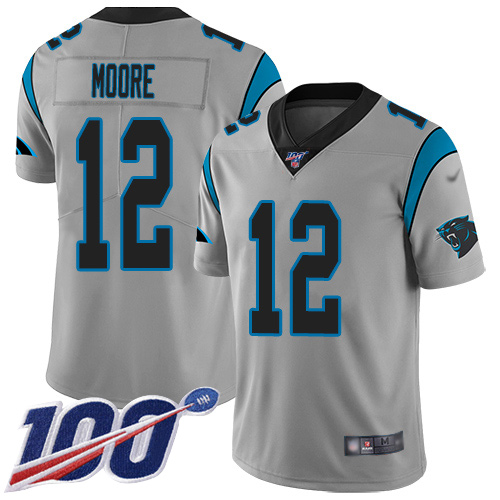 Nike Panthers #12 DJ Moore Silver Men's Stitched NFL Limited Inverted Legend 100th Season Jersey
