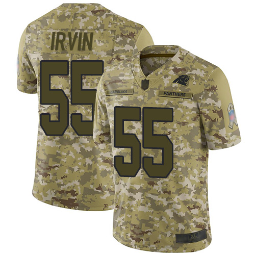 Nike Panthers #55 Bruce Irvin Camo Men's Stitched NFL Limited 2018 Salute To Service Jersey