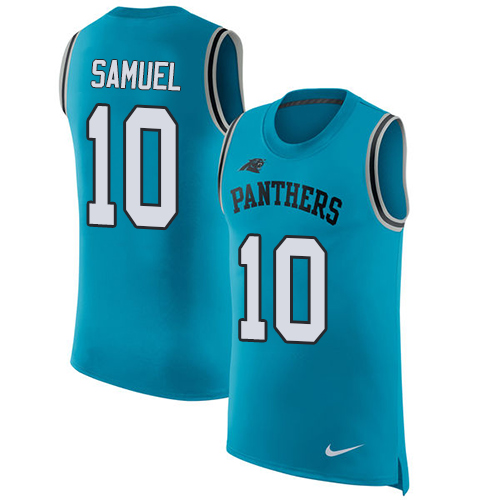 Nike Panthers #10 Curtis Samuel Blue Alternate Men's Stitched NFL Limited Rush Tank Top Jersey