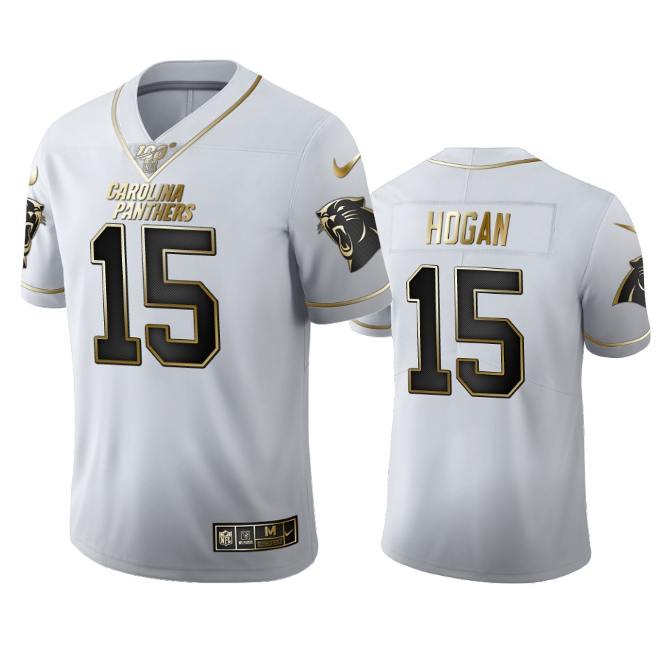 Carolina Panthers #15 Chris Hogan Men's Nike White Golden Edition Vapor Limited NFL 100 Jersey
