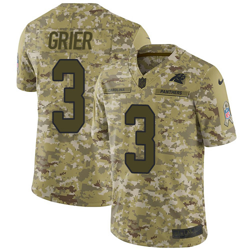Nike Panthers #3 Will Grier Camo Men's Stitched NFL Limited 2018 Salute To Service Jersey