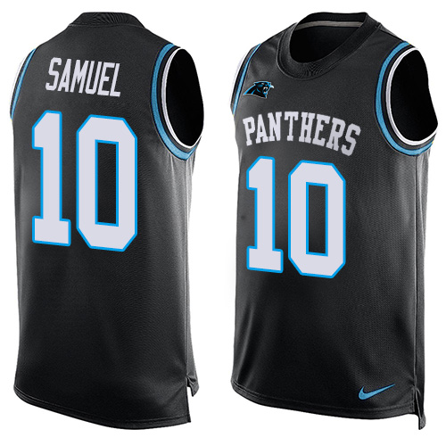 Nike Panthers #10 Curtis Samuel Black Team Color Men's Stitched NFL Limited Tank Top Jersey