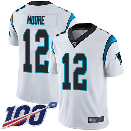 Nike Panthers #12 DJ Moore White Men's Stitched NFL 100th Season Vapor Limited Jersey