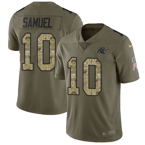 Nike Panthers #10 Curtis Samuel Olive/Camo Men's Stitched NFL Limited 2017 Salute To Service Jersey