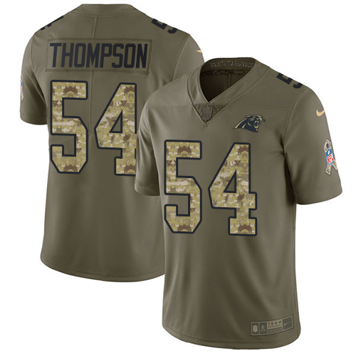 Nike Panthers #54 Shaq Thompson Olive/Camo Men's Stitched NFL Limited 2017 Salute To Service Jersey