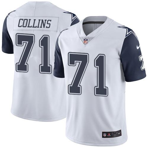 Nike Cowboys #71 La'el Collins White Men's Stitched NFL Limited Rush Jersey