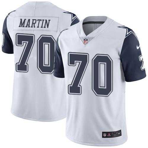 Nike Cowboys #70 Zack Martin White Men's Stitched NFL Limited Rush Jersey