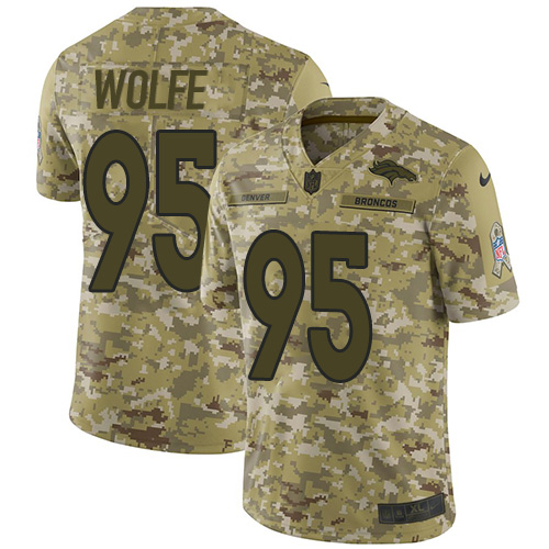 Nike Broncos #95 Derek Wolfe Camo Men's Stitched NFL Limited 2018 Salute To Service Jersey