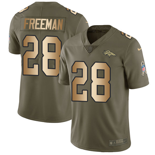 Nike Broncos #28 Royce Freeman Olive/Gold Men's Stitched NFL Limited 2017 Salute To Service Jersey