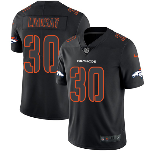 Nike Broncos #30 Phillip Lindsay Black Men's Stitched NFL Limited Rush Impact Jersey