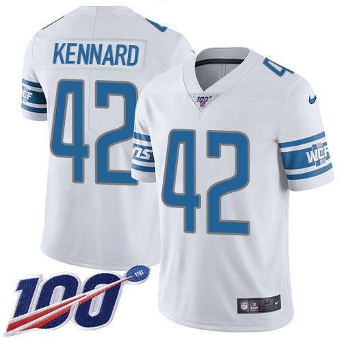 Nike Lions #42 Devon Kennard White Men's Stitched NFL 100th Season Vapor Untouchable Limited Jersey