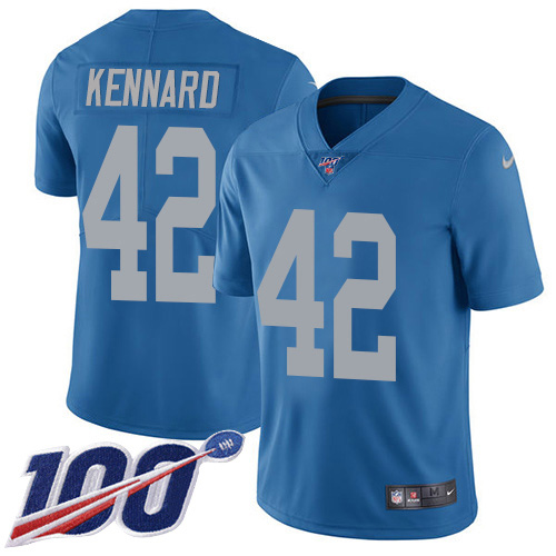 Nike Lions #42 Devon Kennard Blue Throwback Men's Stitched NFL 100th Season Vapor Untouchable Limited Jersey