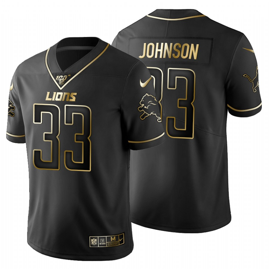Detroit Lions #33 Kerryon Johnson Men's Nike Black Golden Limited NFL 100 Jersey