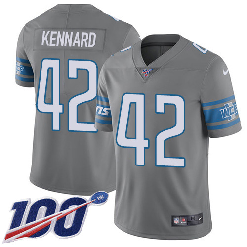 Nike Lions #42 Devon Kennard Gray Men's Stitched NFL Limited Rush 100th Season Jersey