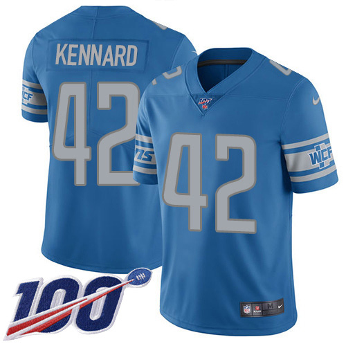 Nike Lions #42 Devon Kennard Blue Team Color Men's Stitched NFL 100th Season Vapor Untouchable Limited Jersey