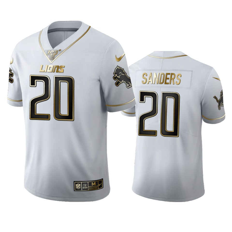 Detroit Lions #20 Barry Sanders Men's Nike White Golden Edition Vapor Limited NFL 100 Jersey